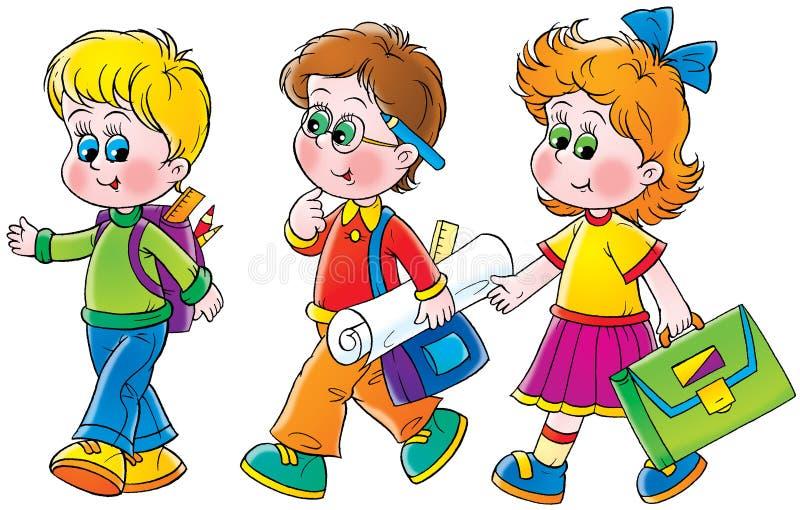 Schoolgirl and schoolboys stock illustration