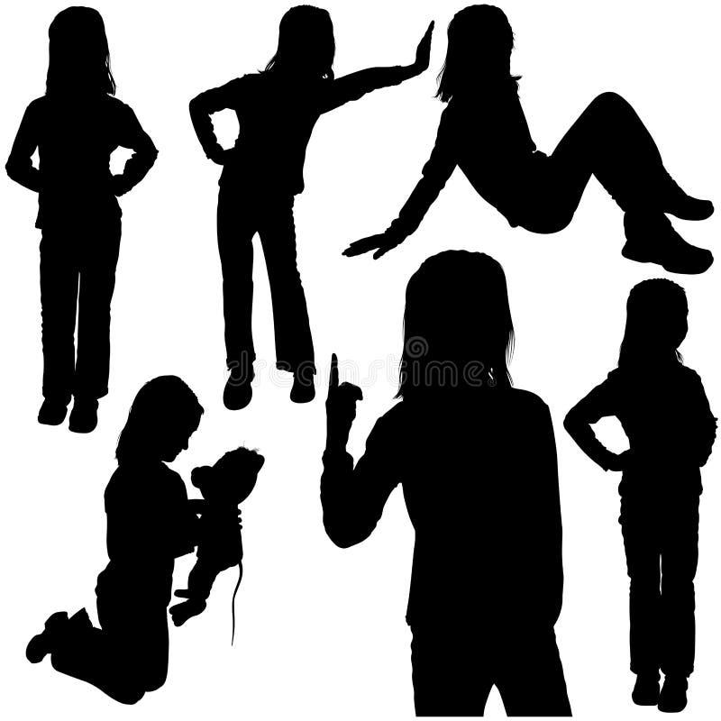 Schoolgirl Silhouettes. Schoolgirl - Detailed Black Silhouettes, Vector royalty free illustration