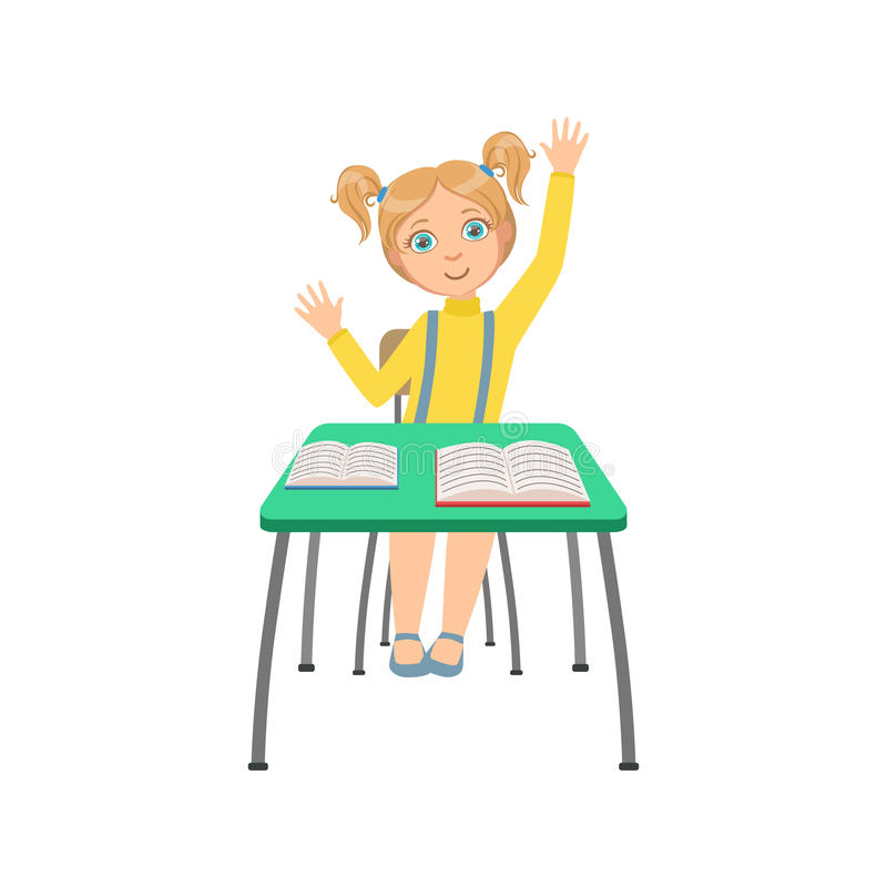 Schoolgirl Sitting Behind The Desk In School Class Raising Hand Wanting To Answer Illustration, Part Of Scholars. Studying Vector Collection.. Happy Teenage royalty free illustration