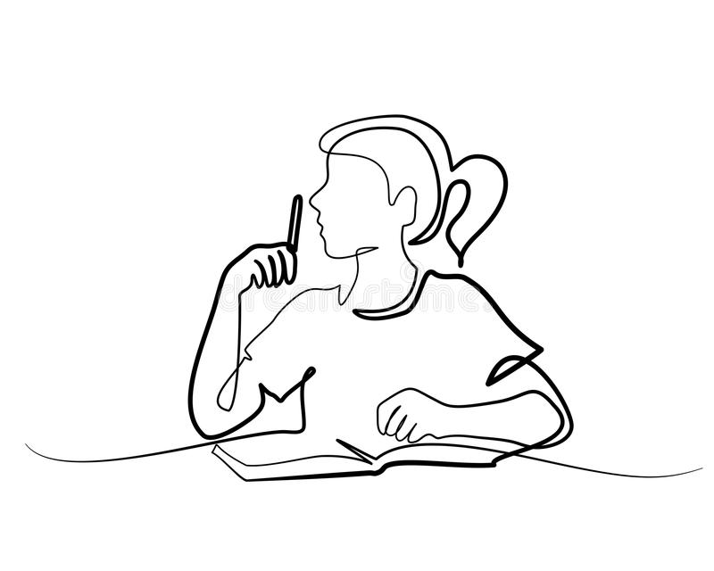 Schoolgirl sitting and writing with pencil on book stock illustration