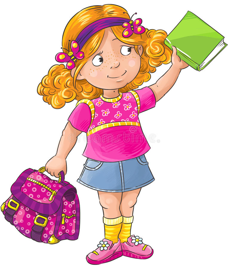 Schoolgirl. Smiley schoolgirl standing with a bag and book stock illustration