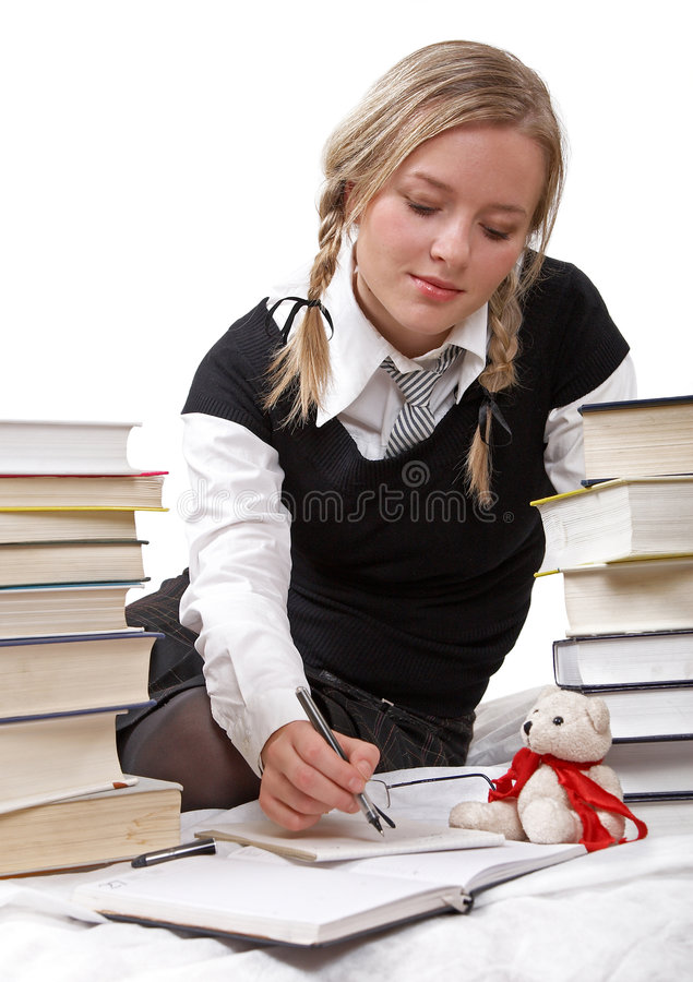 Schoolgirl or student writing stock photos
