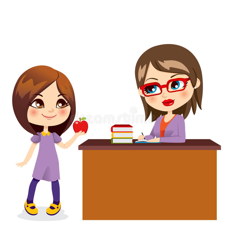 Schoolgirl And Teacher. Cute schoolgirl gives sweet red apple to beautiful young teacher royalty free illustration