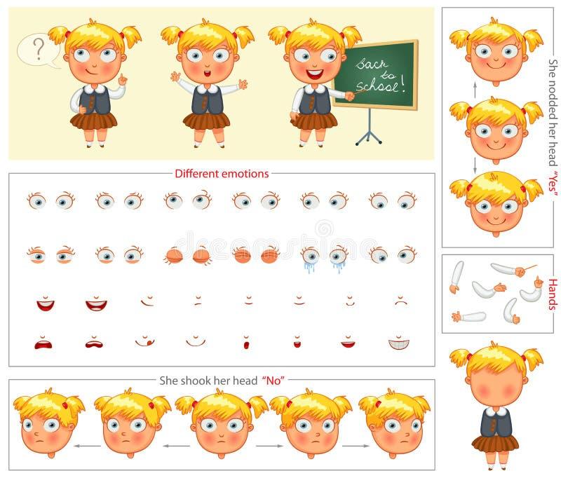 schoolgirl Teile der Körperschablone für Planungsarbeit und Animation stock abbildung