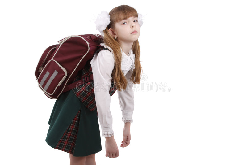 Schoolgirl is tired. Education royalty free stock photography