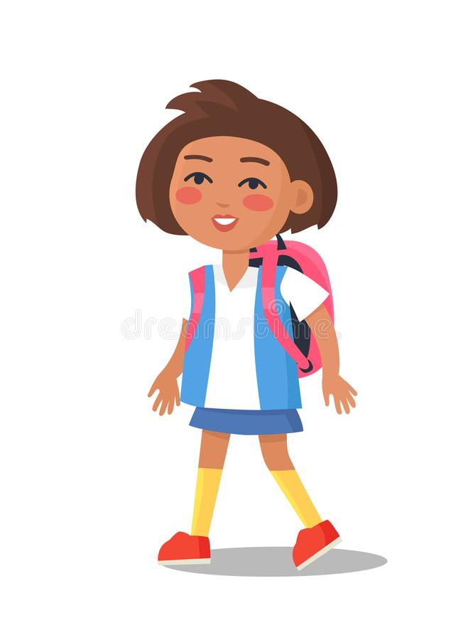 Schoolgirl in Uniform in Blue and White Colors. With backpack isolated. Cartoon female character, first year pupil vector illustration in flat style vector illustration