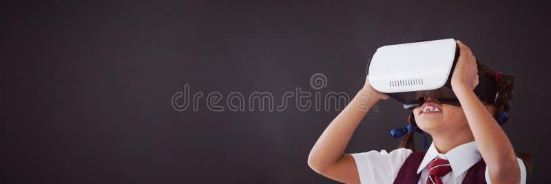 Schoolgirl using virtual reality headset against blackboard vector illustration
