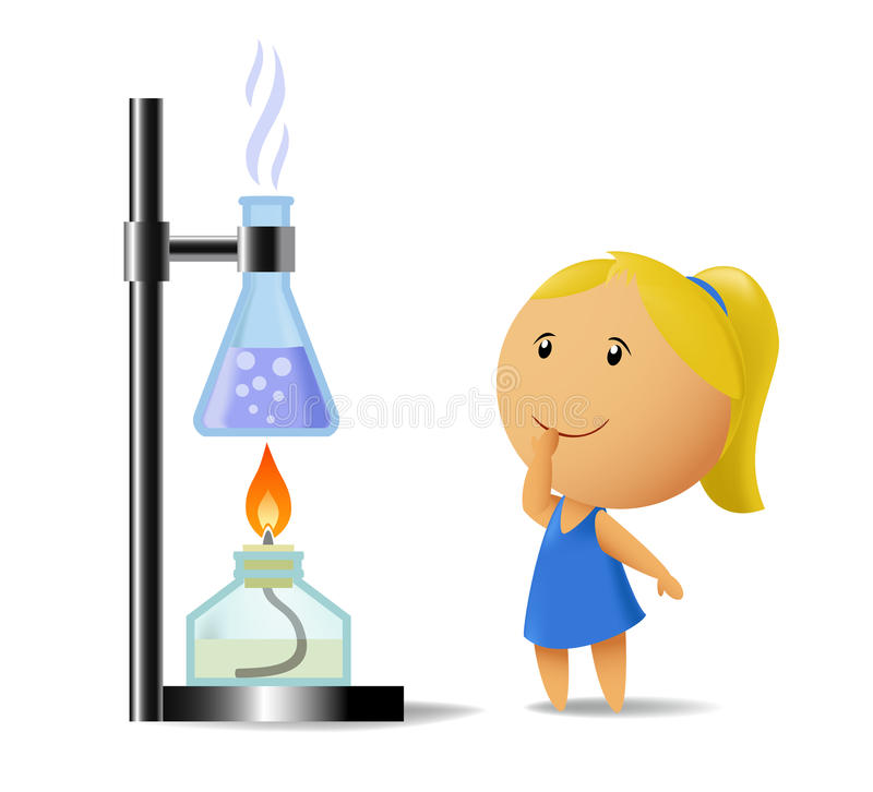 Schoolgirl watching on chemistry test. Vector illustration of school girl with pigtail that watching on chemistry test. Meshes used vector illustration