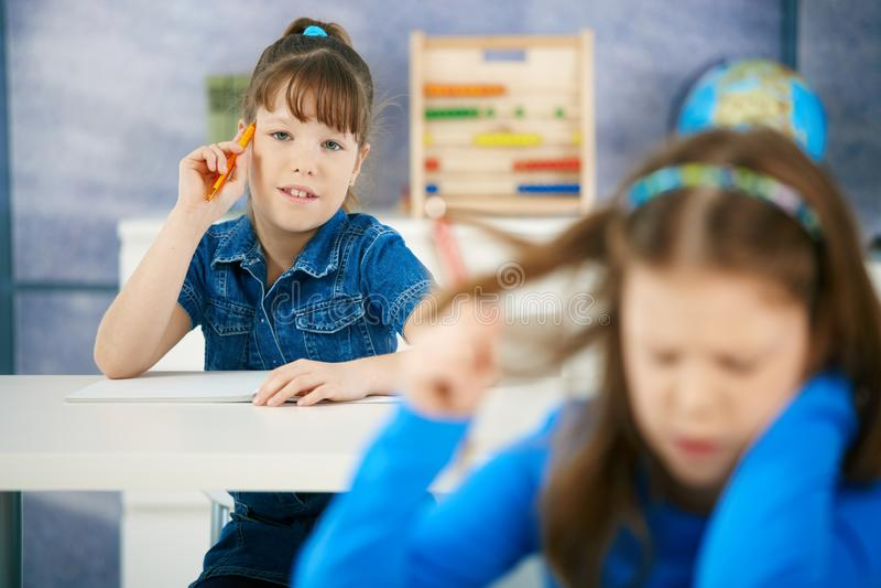 Schoolgirls In Class Stock Photo