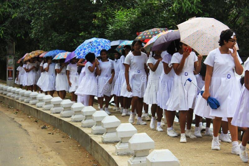 Schoolgirls in school uniform Colombo Sri Lanka Asia Stock