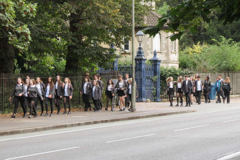 Schoolgirls and schoolboys in Oxford royalty free stock photos