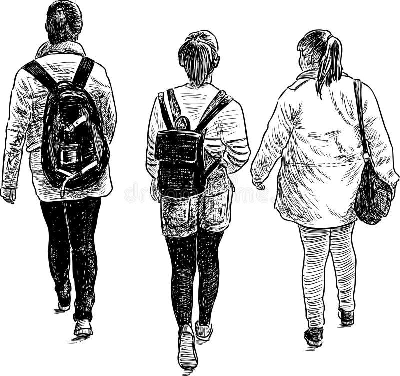 Schoolgirls on a walk. Vector image of the walking girls students stock illustration