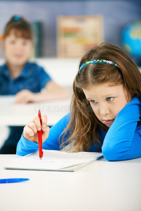 Schoolgirls Writing Tests Stock Image