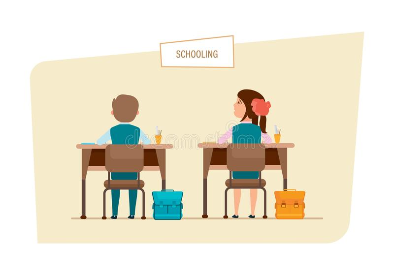 Classmates sit next to each other, behind desks, with accessories. Schooling concept. Modern education in school. Lesson in classroom. Classmates sit next to royalty free illustration