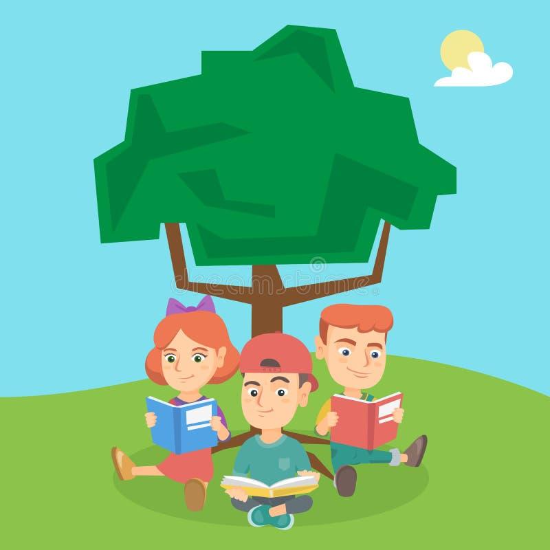 Schooljonge geitjes die boeken lezen onder een boom op aard stock illustratie