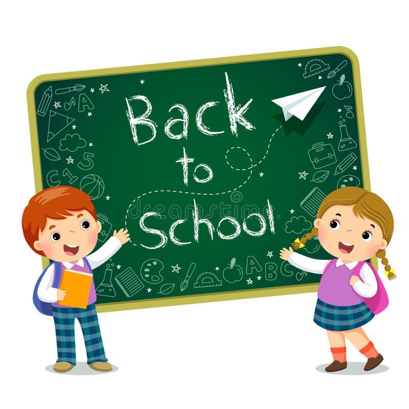 Schooljonge geitjes met tekst van terug naar School op het bord stock illustratie