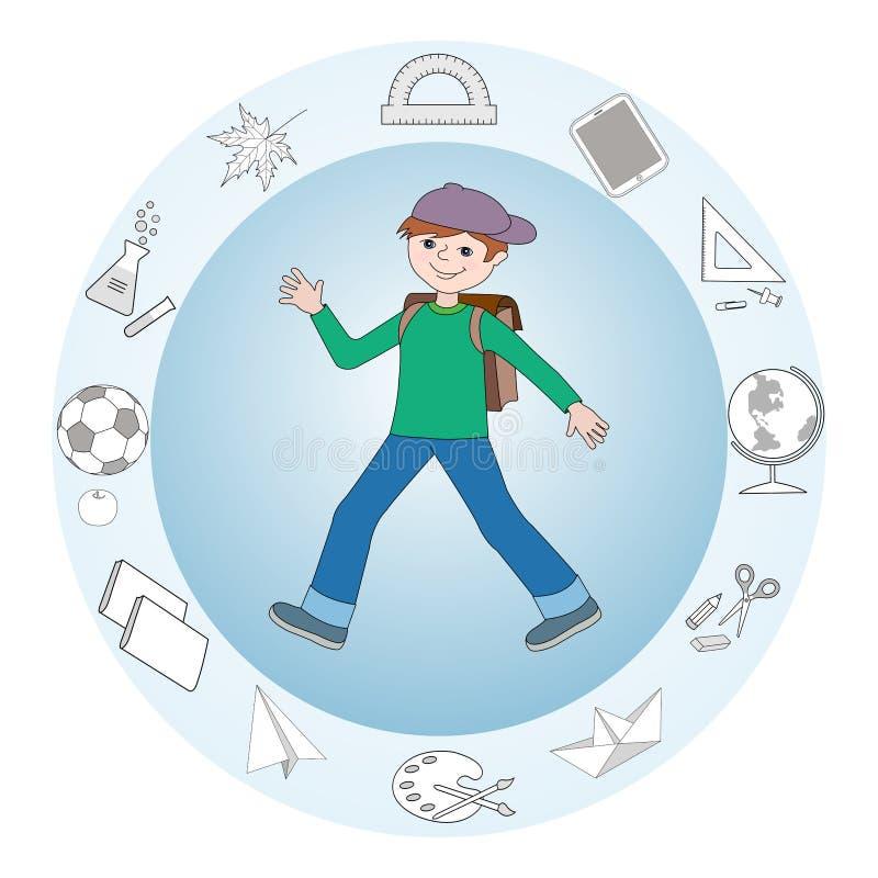 Schooljongen stock illustratie