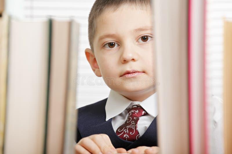 Schooljongen achter boeken stock afbeelding