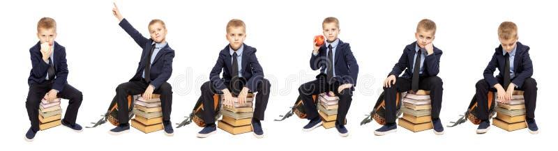 Schooljongen in eenvormig van gemiddelde lengte Verschillend stelt en emoties collage Ge?soleerd over witte achtergrond stock foto's