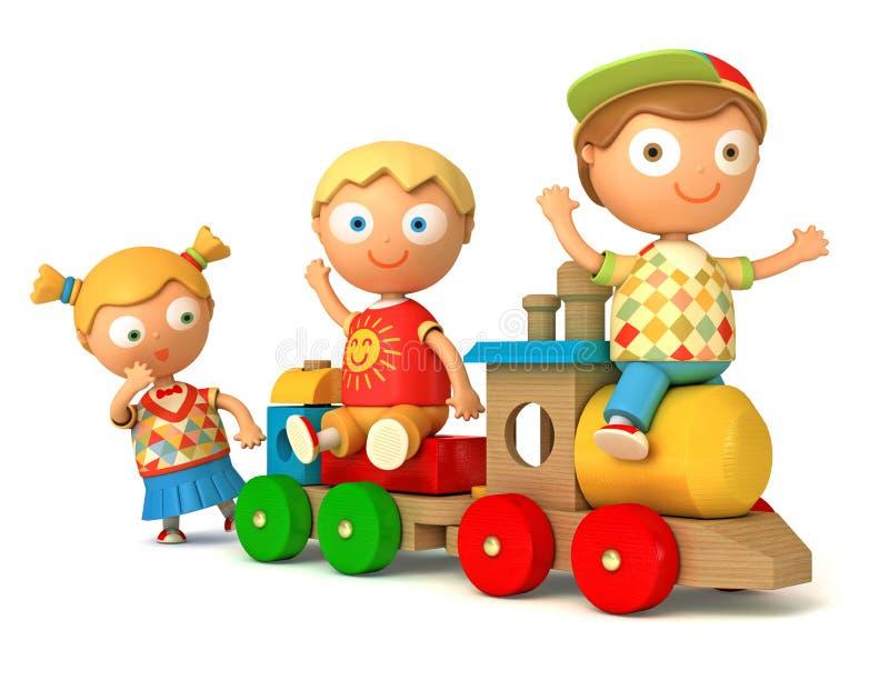 Schooljongen en schoolmeisjespelstuk speelgoed trein royalty-vrije illustratie