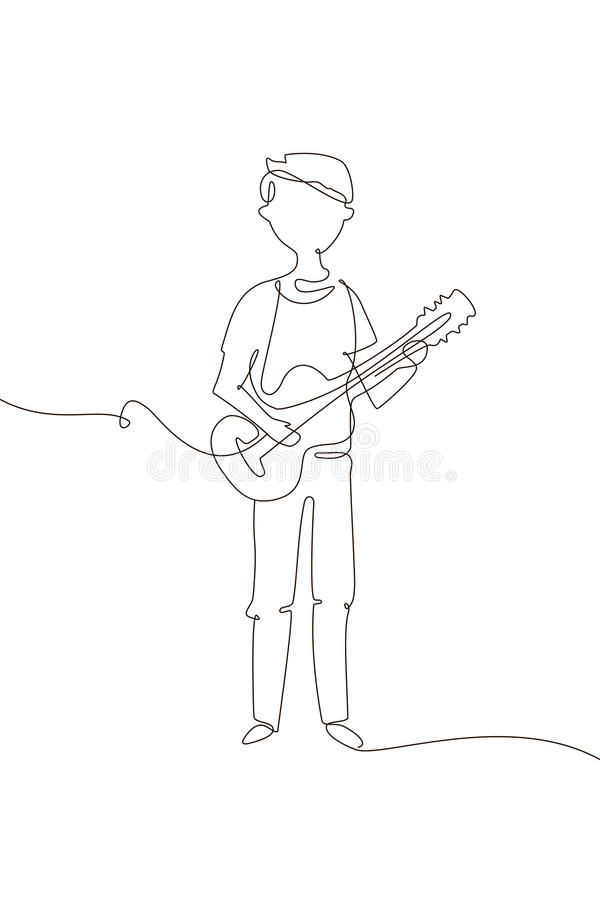 Schooljongen het spelen gitaar - één de stijlillustratie van het lijnontwerp stock illustratie