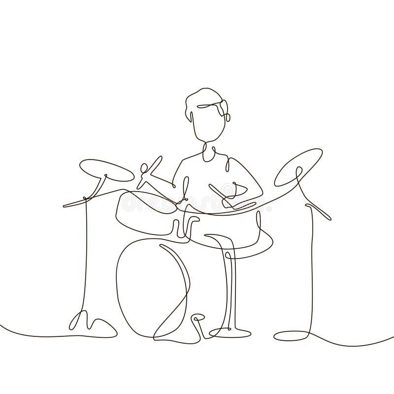 Schooljongen het spelen trommels - één de stijlillustratie van het lijnontwerp vector illustratie