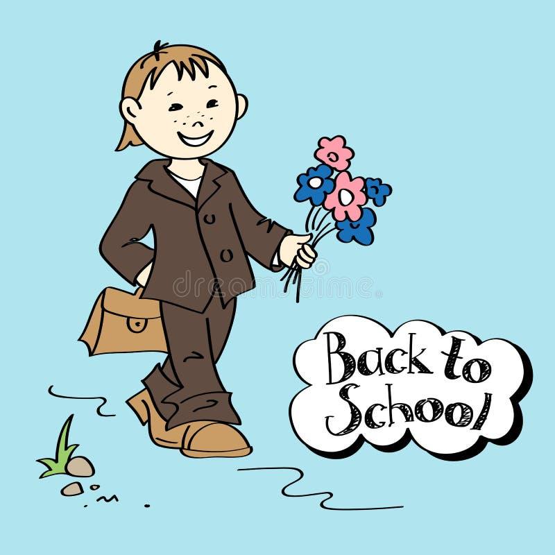 Schooljongen met bloemen en schooltas stock illustratie