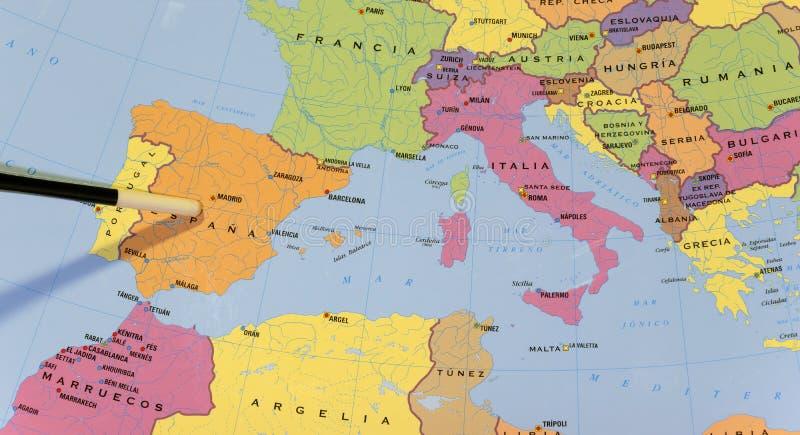 Schoolkaart van europa ` s zuiden stock foto