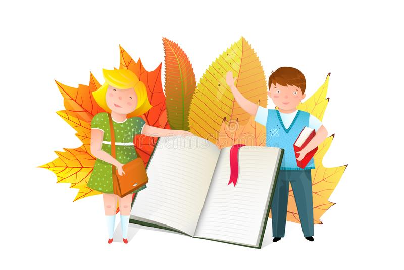 Schoolkids with open book flat vector illustration vector illustration