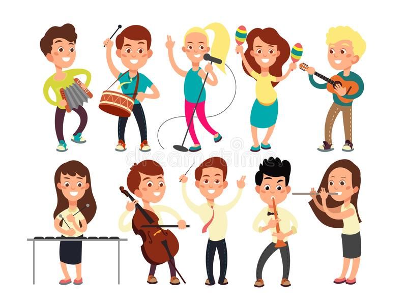 Schoolkids playing music on stage. Children musicians performing music show vector illustration