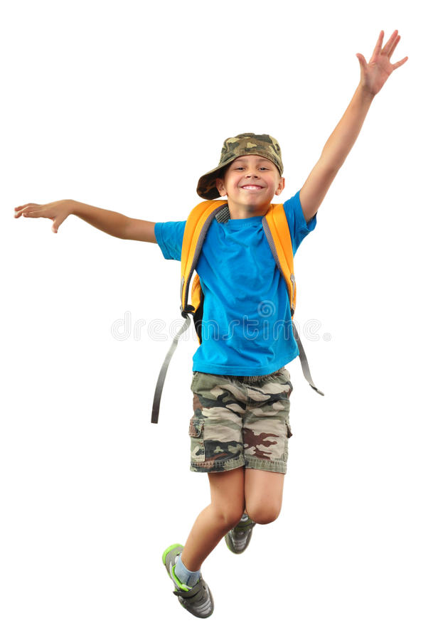Schoolkind met rugzak en GLB-het springen royalty-vrije stock foto's