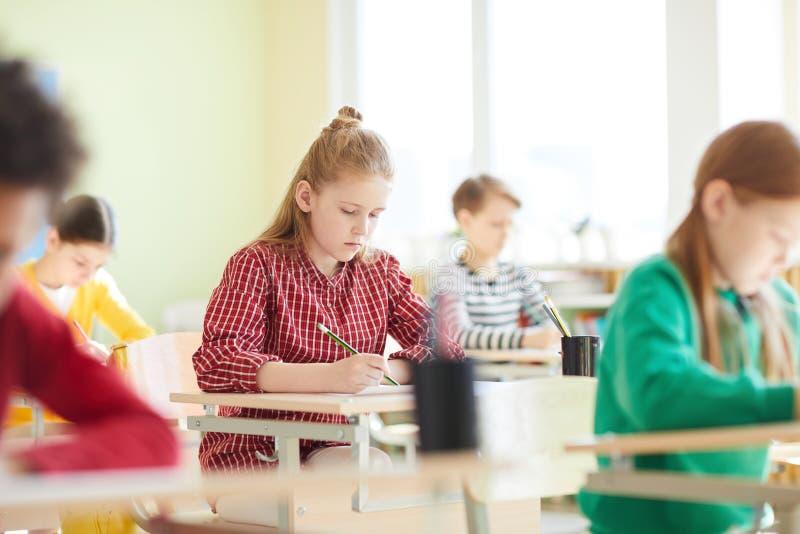 Schoolkinderen die testspatie vullen bij examen royalty-vrije stock fotografie
