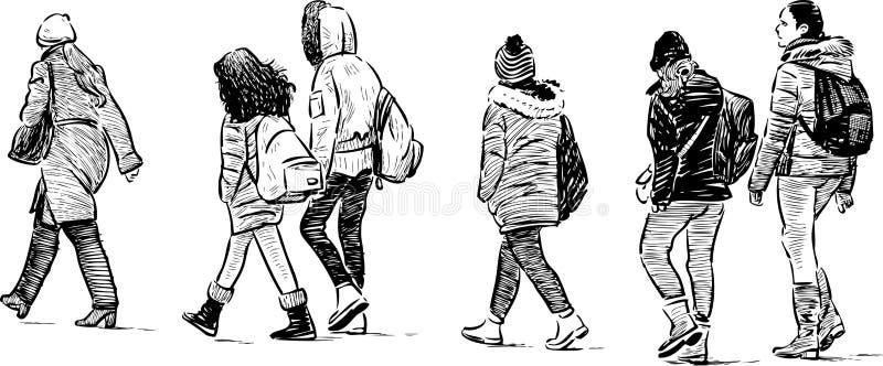 Schoolkinderen op een gang stock illustratie