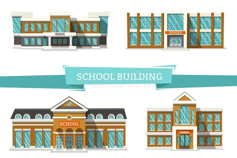 Schooll budynki na bielu royalty ilustracja