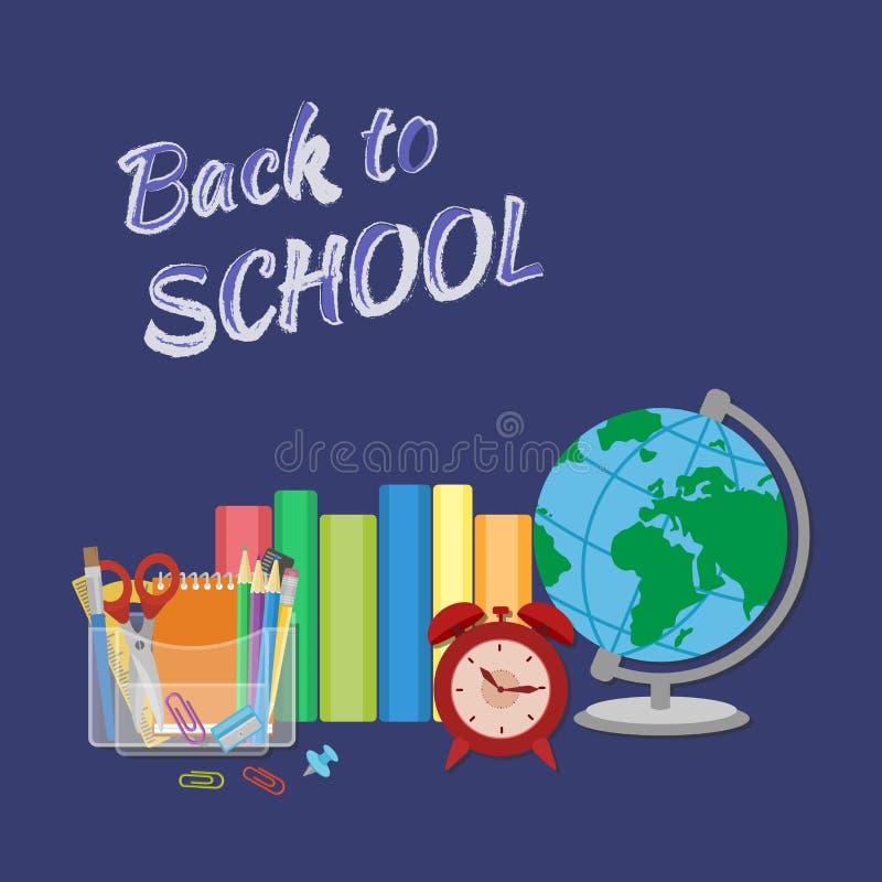 Schoollevering met inschrijving in krijt terug naar school Het vlakke Concept van het Stijlonderwijs stock illustratie