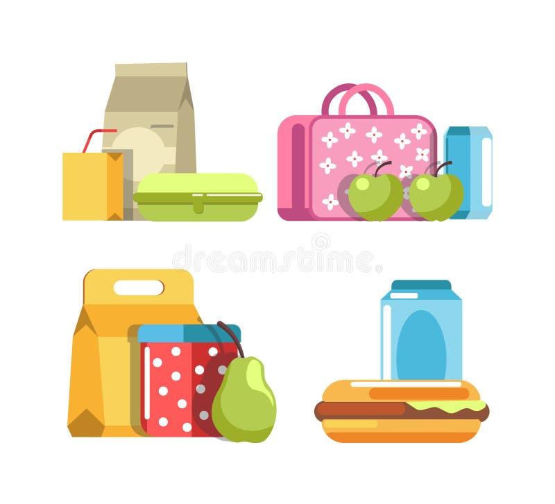 Schoolmaaltijd en maaltijddozen, de containers van het ontbijtvoedsel royalty-vrije illustratie
