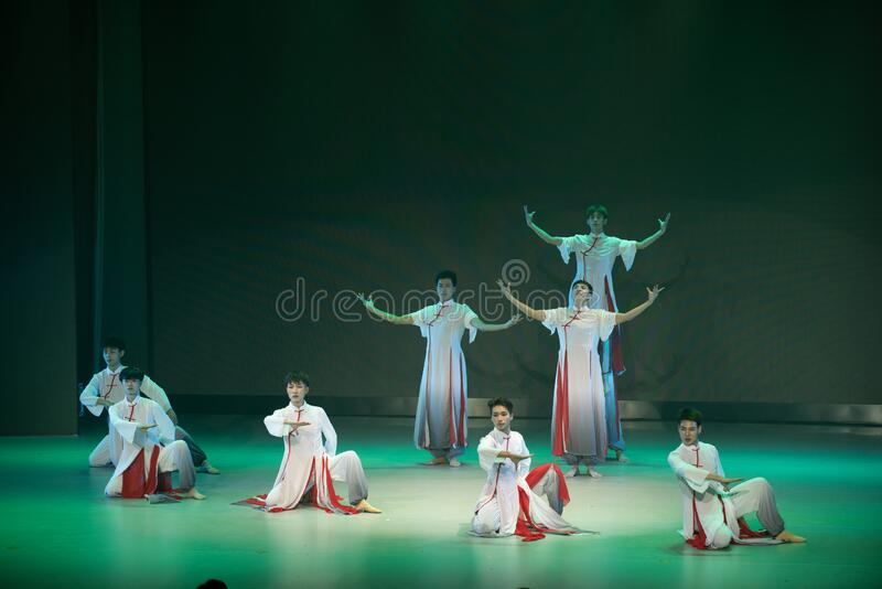 Schoolmate youth 7-old-style private school-Chinese folk dance stock image