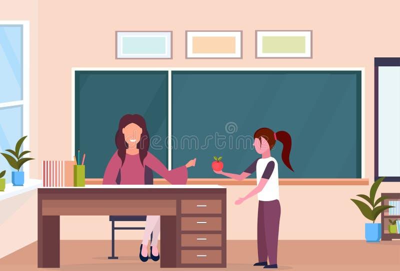 Schoolmeisje die appel geven aan de zitting van de vrouwenleraar bij van de het concepten modern school van het bureauonderwijs h stock illustratie