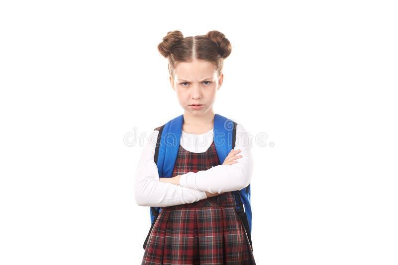 Schoolmeisje die woede voelen stock foto's
