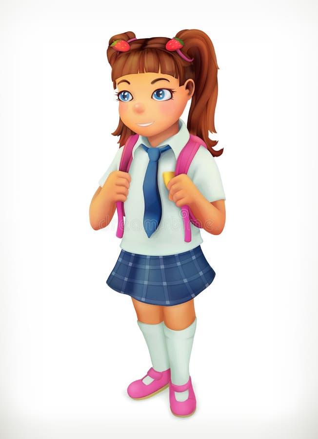Schoolmeisje Het karakter van het meisjebeeldverhaal vector illustratie
