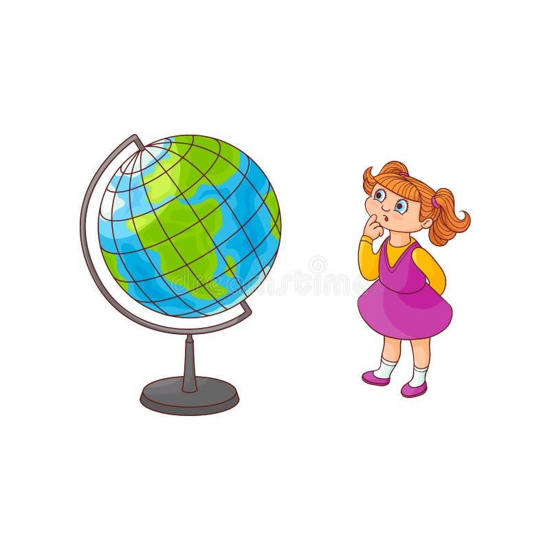 Schoolmeisje met de kaart van het bolgebied op witte achtergrond wordt geïsoleerd die vector illustratie