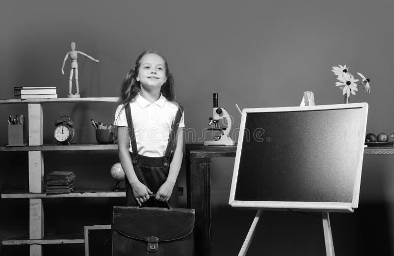 Schoolmeisje met gelukkig gezicht in haar klaslokaal Onderwijs en terug naar schoolconcept Jong geitje en schoollevering stock fotografie