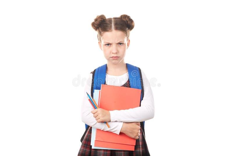 Schoolmeisje onwillig te bestuderen royalty-vrije stock afbeelding