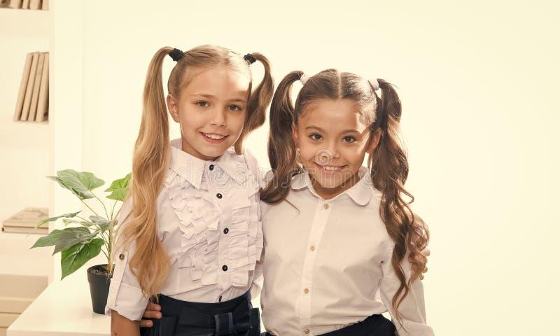 Schoolmeisjes met het leuke kapsel van poneystaarten Beste vrienden uitstekende leerlingen Perfecte schoolmeisjes met proper buit stock fotografie