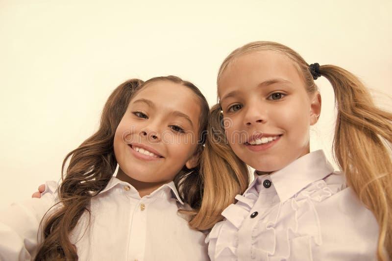 Schoolmeisjes met leuk paardestaartenkapsel en briljante glimlachen Beste vrienden uitstekende leerlingen Perfecte schoolmeisjes  stock afbeelding