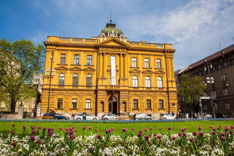 Schoolmuseum bij de historische bouw van het Kroatische OnderwijsdieHuis op 1889 wordt gebouwd stock fotografie