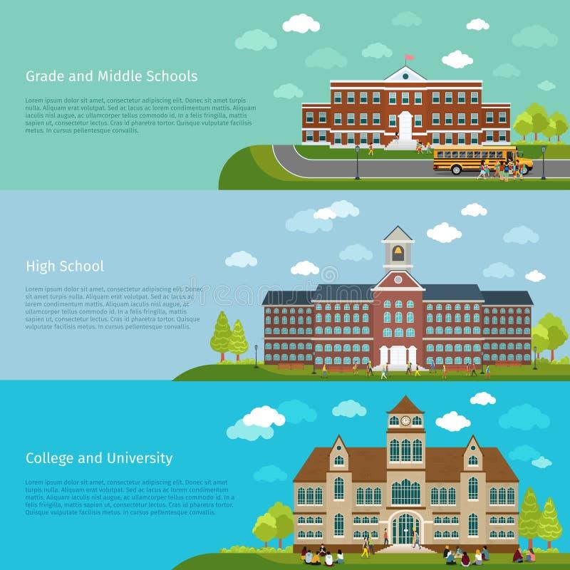 Schoolonderwijs, middelbare school en universitaire studie vector illustratie