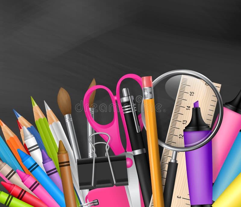Schoolontwerp met realistische levering op bordachtergrond, en beschikbare ruimte voor tekst vector illustratie