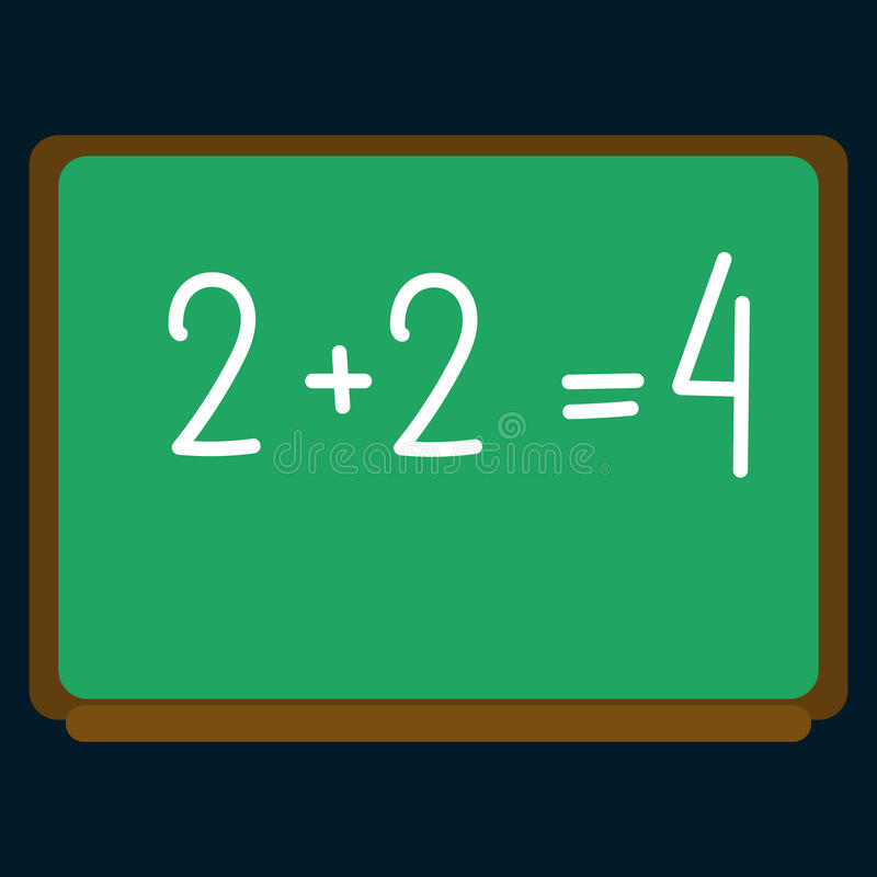 Schoolraad met wiskundig voorbeelden vlak pictogram vector illustratie