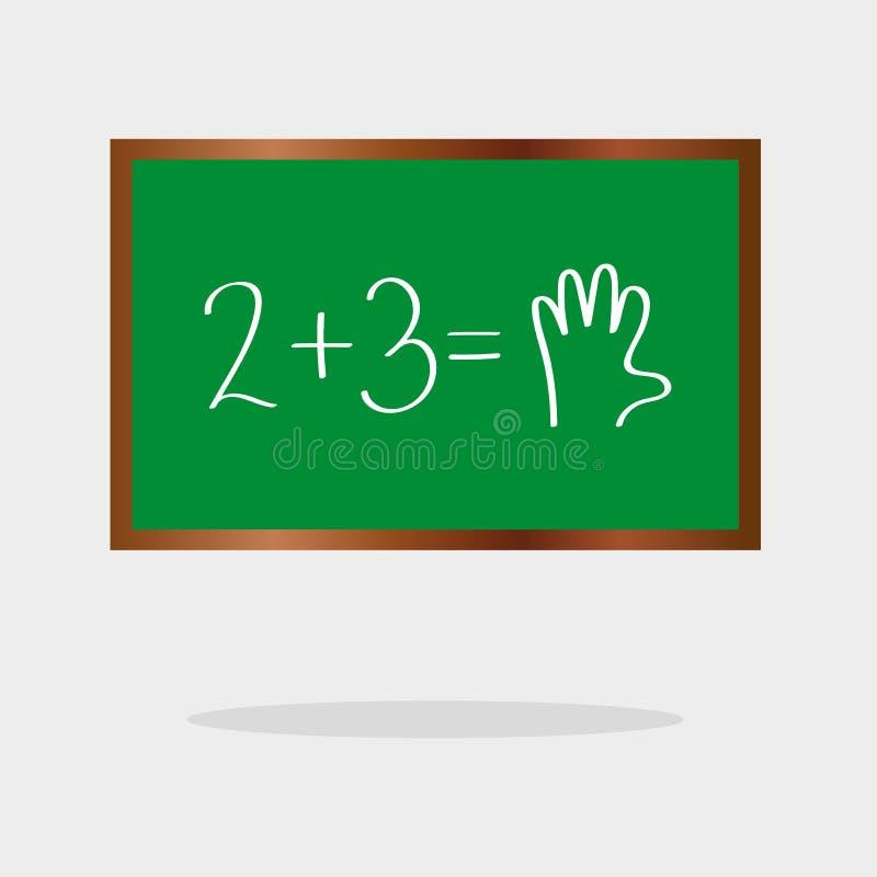 Schoolraad met wiskundig voorbeelden vlak pictogram, vectorteken, kleurrijk die pictogram op zwarte wordt geïsoleerd Symbool, emb royalty-vrije illustratie